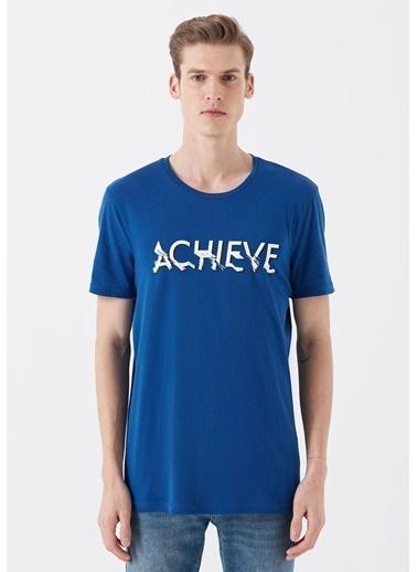 Mavi Achieve Baskılı  Tişört Mavi